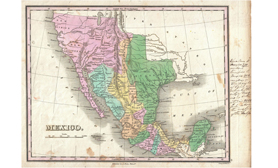 Old map of mexico Texas